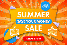 Summer Sale Modern Horizontal Banner Background With Confetti. Banner Template For Discount, Business, Advertisement, Promotion. Blue,red, Yellow Color. Stock Vector Illustration On Sunbeam Background