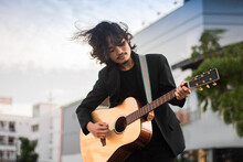 Portraits Man Hold Guitar Playing Music Festival Outdoor, Lifestyle Fashion Music Street Outdoor