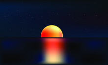 Vector Infinite Space Background. Matrix Of Glowing Stars With Illusion Of Depth And Perspective. Abstract Cyber Fiery Sunrise Over Sea. Abstract Futuristic Universe On Light Blue Background
