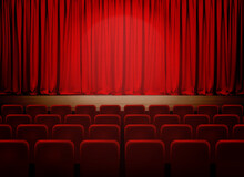 Empty Theater Stage With Red Velvet Curtains. Vector Illustration