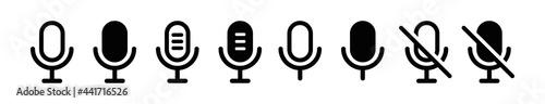 Fotografia, Obraz Microphone flat icon collection
