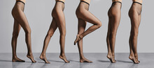 Composition With Female Legs In Fishnet Tights Standing In Profile