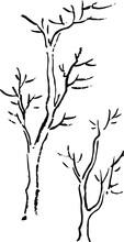 鳥獣戯画:2本の枯れ木