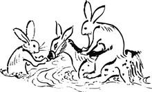 鳥獣戯画:鹿に乗って川を渡るうさぎたち