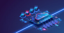 Data Center Isometric Concept. Server Room With Hardware Racks Or Web Hosting Infrastructure. Blue Web Banner. Concept Of Big Data Storage And Cloud Computing Technology. 3d Vector Illustration