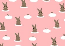 Pattern Of Bright And Gentle Rabbits In The Clouds On A Pink Background