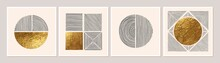 Abstract Minimalist Wall Art Composition In Beige, Grey, White, Black Colors. Simple Line Style. Golden Shape