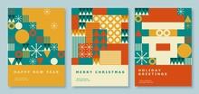 Happy 2022 New Year Abstract Geometric Card Design. Modern Flat Minimalist Style. Merry Christmas Invitation