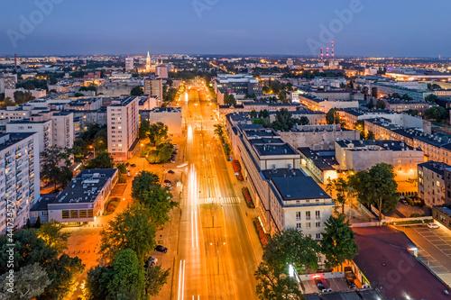 Obraz na plátne Miasto Łódź- widok na nocne miasto.