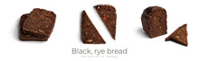 Black, Rye Bread With Dried Fruit On A White Background.