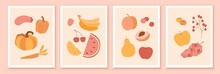 Set Of Wall Art Compositions With Fruits, Berries And Vegetables. Summer, Autumn, Exotic Food.