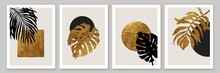 Abstract Geometric Minimalist Wall Art Composition In Beige, Grey, White. Golden Geometric Shapes
