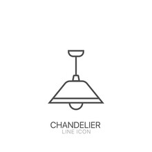 Chandelier Outline Vector Icon. Editable Stroke Simple Modern Chandelier For Offices