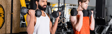 Interracial Sportsmen Working Out With Dumbbells In Gym, Banner