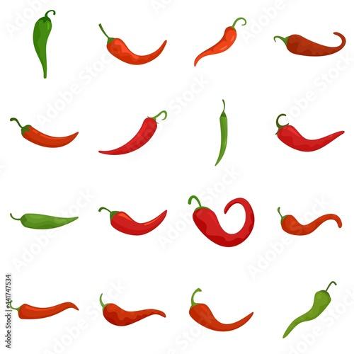Canvastavla Chili icons set flat vector isolated
