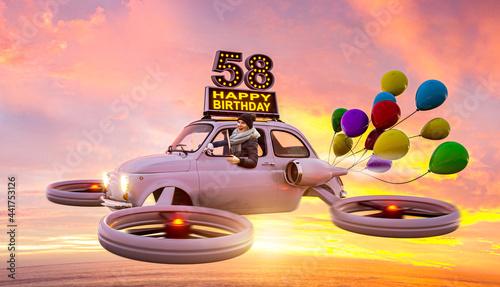 Fotografía 58 Jahre – Geburtstagskarte mit fliegendem Auto