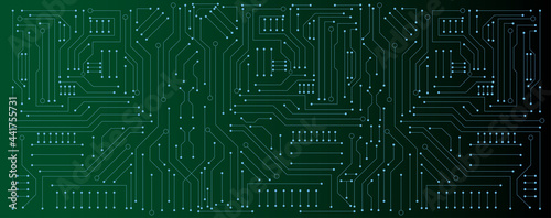 Canvas circuit board electronic or electrical line on green engineering technology conc