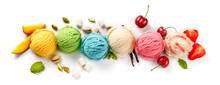 Assorted Of Ice Cream Scoops On White Background. Colorful Set Of Ice Cream Scoops Of Different Flavours. Top View Of The Ice Cream Isolated With Nuts, Vanilla, Mint, Fruits And Berries.