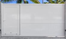 Portail Coulissant Avec Portillon Intégré En Aluminium Blanc