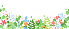 Cute Horizontal Banner With Blooming Flowers. Floral Seamless Patterns Border. Nature Background. Vector Illustration On White Background