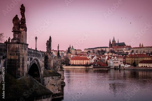 Canvas Sunrise At Charles Bridge, Prague