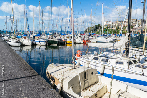 Obraz na plátně Sailboats Moored In Harbor