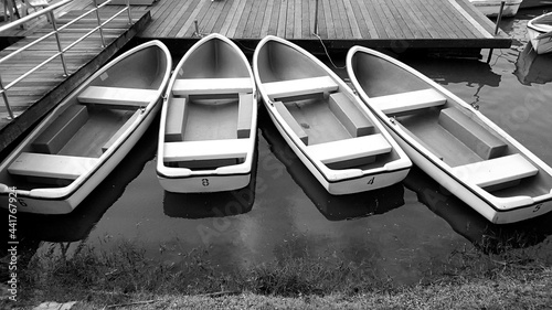 Fotografie, Obraz High Angle View Of Boats Moored On Lake