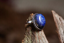 Brass Metal Lapis Lazuli Mineral Stone Ring On Natural Background