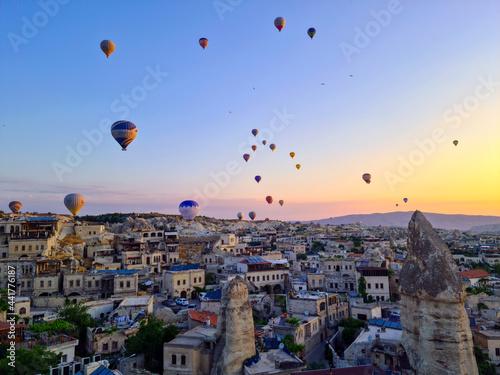 Fototapeta Cappadocia - Turkey, Hot air balloons in the sky at morning time, tourism at Tur