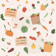 Vegetables In Crates Seamless Pattern, Wooden Pallet Boxes. Harvest And Seeds, Garden, Farming. Isolated Food On Beige Background. Illustration For Restaurant, Market, Menu, Craft Package Design
