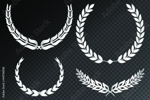 Fotografie, Obraz Set of silver laurel wreaths