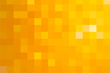 Abstract Pixel Yellow Background. Gold Geometric Texture From Squares. Vector Pattern Of Square Yellow Pixels