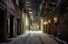 Dark Empty Alley At Night Downtown Chicago