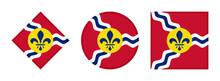 Saint Louis Flag Icon Set. Isolated On White Background