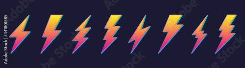 Obraz na płótnie Creative yellow electric thunder bolt lightning flash icons set vector