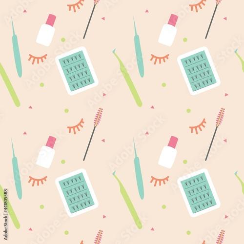 Tapety Glamour  narzedzia-do-przedluzania-rzes-wzor-bez-szwu-sztuczne-rzesy-pedzle-i-pesety-w-stylu-doodle-tlo-dla-projektu
