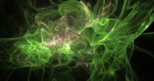 Abstract Green Smoke Fractal Background