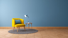 Modern And Minimalist Interior Of Living Room ,yellow Armchair With White Table On White Wall