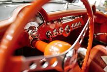 Vintage Racing Automobile Steering Wheel And Dashboard