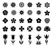 Flowers Icon Set. Collection Of Beautiful Signs Of Flowers. Black Silhouette On White Background. Design Element For Summer, Spring Backgrounds And Holiday Decorations. Isolated. Vector Illustration