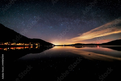 Fototapeta A view of the night sky over Bassenthwaite in English the Lake District