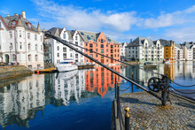 Cityscape View With Colourful Houses At The Canal In Alesund, Norway