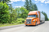 Fototapeta Kawa jest smaczna - Catchy orange big rig semi truck with pipe grille guard transporting frozen cargo in refrigerated semi trailer driving on the highway road with green forest on the side