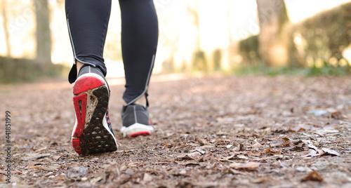 Slika na platnu Woman Walking At Park. Outdoor Jogging Exercise.