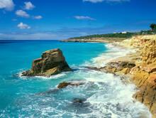 France, Caribbean, Saint-Martin, Sea Waves Crashing Against Rocky Coast