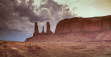 Arizona, Monument Valley Tribal Park, The Three Sisters Rock Formation In Monument Valley