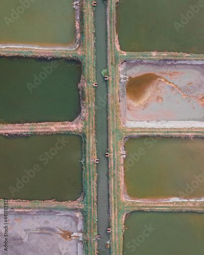 Stampa su Tela Fishpond Aerial View