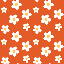 Retro 70s Style White Daisies Scattered On A Bold Orange Background. Seamless Repeating Vector Background.