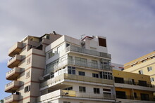 Low Angle View Of Beachside Housing In Los Cristianos, Arona, Tenerife, Canary Islands