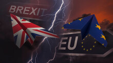 Paper Planes In The Colors Of The Flags Of The European Union And Great Britain Fly In Different Directions Against The Backdrop Of A Thunderstorm. Brexit Concept. 3D Rendering. Collage